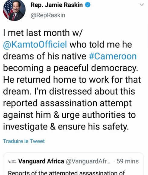 jamie_raskin_tweet_enquete_tentative_assassinat_kamto